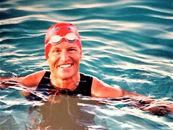 Jody preparing for open-water swim near her So Cal home (2014)